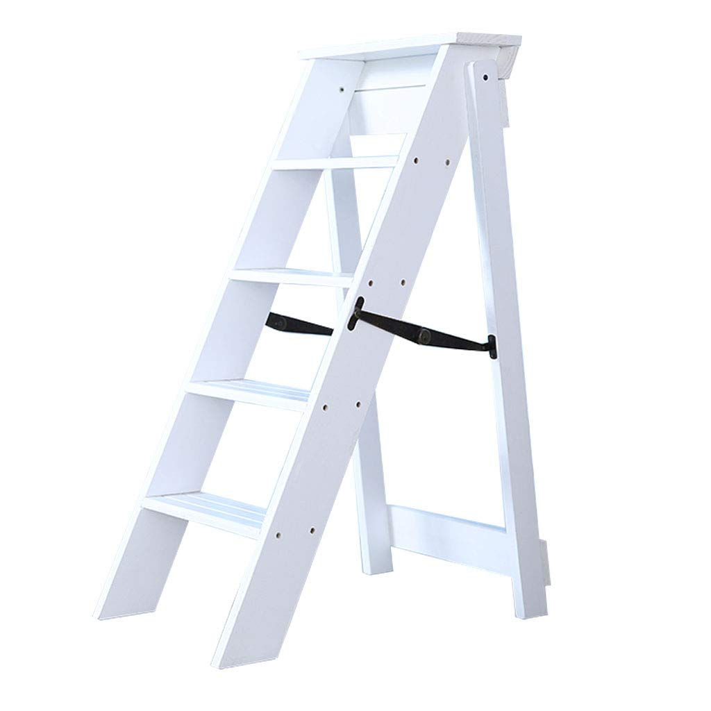 Wooden Step Ladders Folding Stool,5-Steps,Multifunction Climb Ladder Shelf,for Kitchen/Office/Library Stepladder,3 Colors Available by HGNA-Stepladders