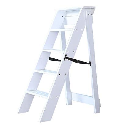 Sensational Amazon Com Wooden Step Ladders Folding Stool 5 Steps Machost Co Dining Chair Design Ideas Machostcouk