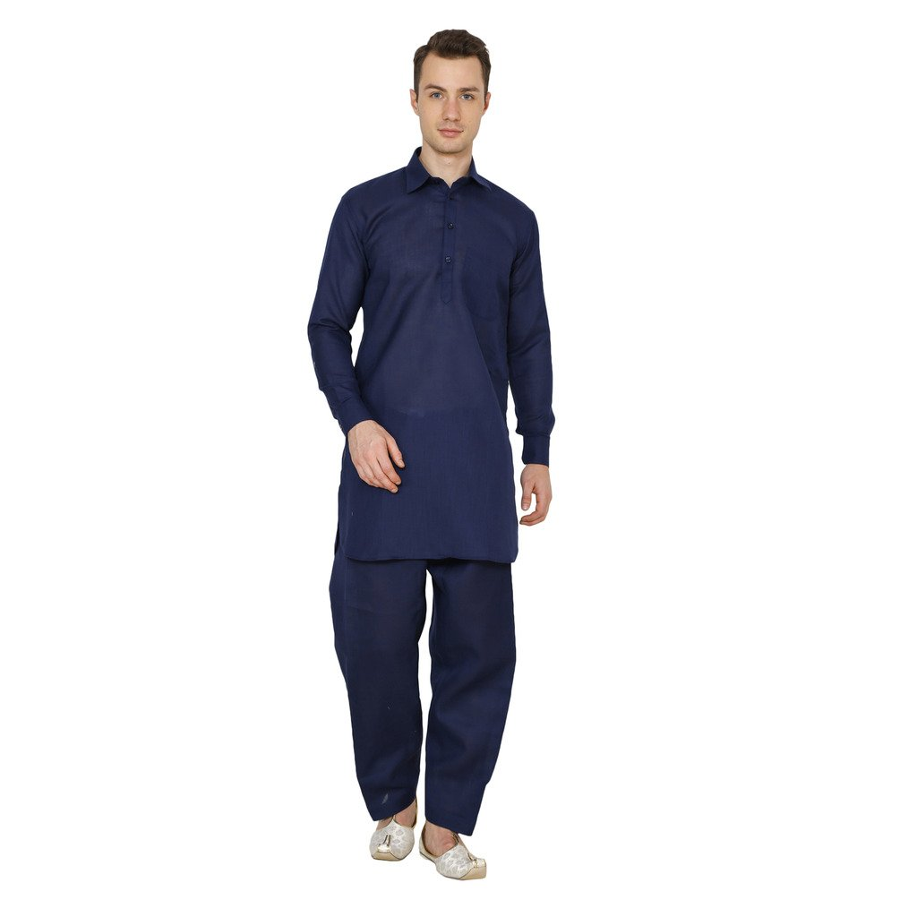 Royal Kurta Men's Linen Navy Blue Pathani Suit 713-KAMIJ-SALWAR-NAVY-