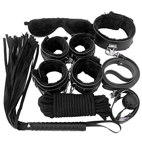 BFY 8 pcs Adult Sexy Costume Women Clothes Restraint Kit Leather Luxury Handcuffs Toy