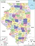 Illinois County Map (36'' W x 47.24'' H)