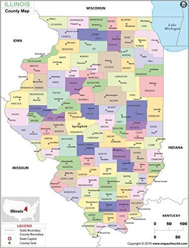 Amazon.com : Illinois County Map (36\