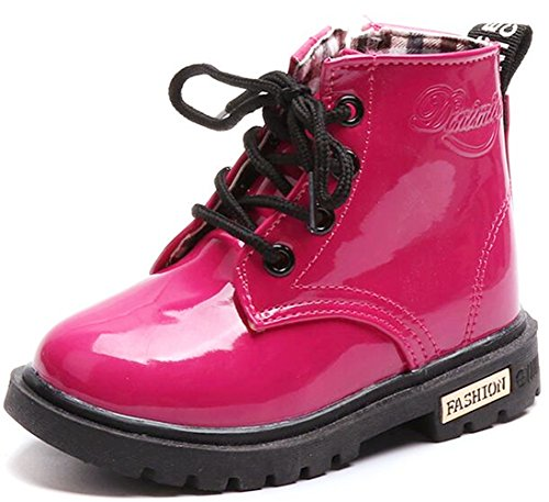 DADAWEN Boy's Girl's Waterproof Side Zipper Lace-Up Ankle Boots (Toddler/Little Kid/Big Kid) Rose Red US Size 1 M Little Kid ()