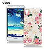 OuDu Silicone Case for Huawei Y6 Soft TPU Rubber Cover Flexible Slim Case Smooth Lightweight Skin Ultra Thin Shell Creative Design Cover - Pink Flower