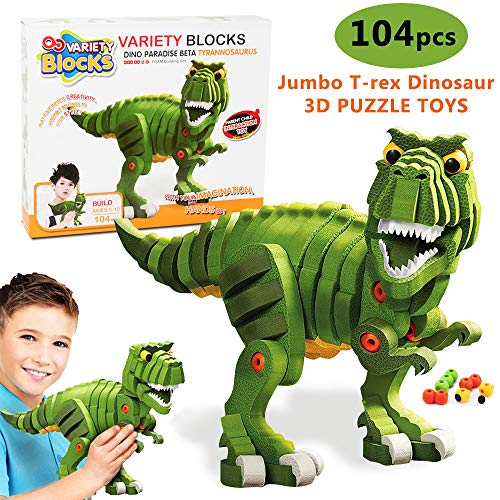 104pcs 3D Dinosaur Puzzle for Kids,EVA Foam Building Blocks Tyrannosaurus Figures Splicing Model Series,Educational STEM Toys Assembly Kits for Boys&Girls 6 Years Old Up Kids Party Favors
