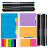 Vicnova Large and Small Sticky Notes Set with Fineliner Color Pens Set- 60 Ruled Lined Notes 4x6, 48 Dotted Notes 3x4, 48 Blank Notes 4x3,48 Orange...