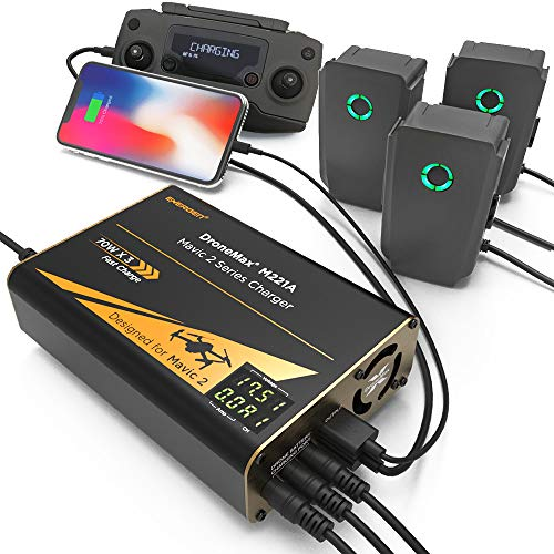 Energen - EN-DM-M221A DroneMax M221A Drone Battery Charger, DJI Mavic 2 Charger, Intelligent Fast Multi Battery Charging Hub Station (Charge 3 Batteries & 2 USB Ports Simultaneously)