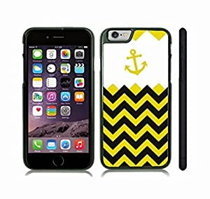 Case Cover For Ipod Touch 4 with Chevron Pattern Black and Yellow Stripe Gold Yellow Anchor Black Snap-on Cover, Hard Carrying Case (Black)