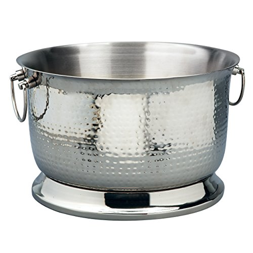 Double Wall Party Tub - Elegance Silver 72622 Double Wall Hammered Stainless Steel Party Tub, 5 gal