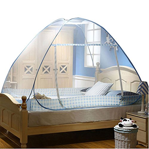 CdyBox Folding Mosquito Net Tent Canopy Curtains for Beds Home Bedroom Decor (1.2X2.0m, Blue) (Twin Mosquito Net)