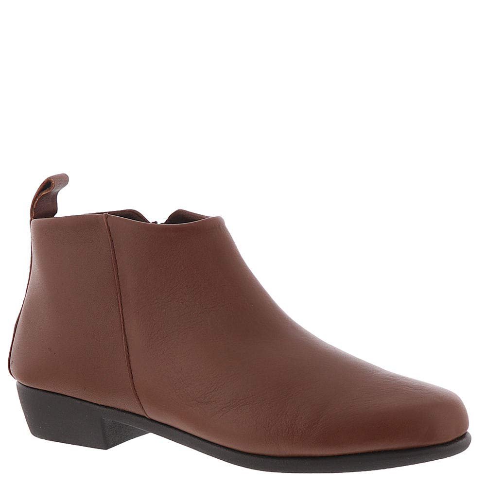 Dark Tan Leather Aerosoles Womens Step It Up Ankle Boot