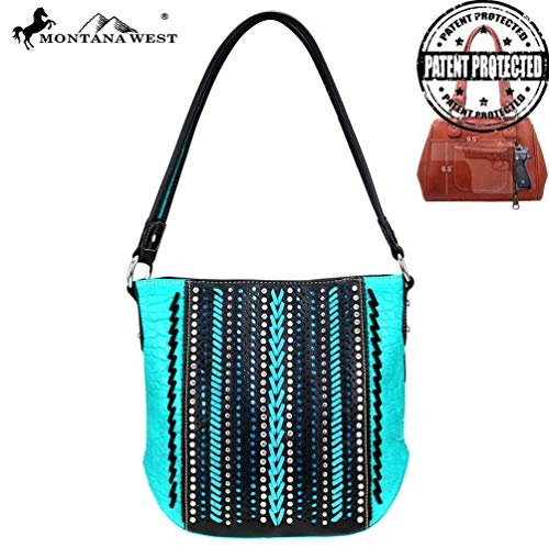 Montana West Concealed Carry Hobo Purse Safari Collection Croc Print MW729G-916 Black Turquoise