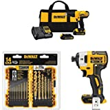 "Dewalt DCD771C2 20V MAX Cordless Lithium-Ion 1/2 inch Compact Drill Driver Kit with 20V MAX XR Li-Ion Brushless 0.25"" 3-Speed Impact Driver and 14-Piece Titanium Drill Bit Set"