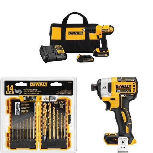 Dewalt DCD771C2 20V MAX Cordless Lithium-Ion 1/2 inch Compact Drill Driver Kit with 20V MAX XR Li-Ion Brushless 0.25'' 3-Speed Impact Driver and 14-Piece Titanium Drill Bit Set by DEWALT