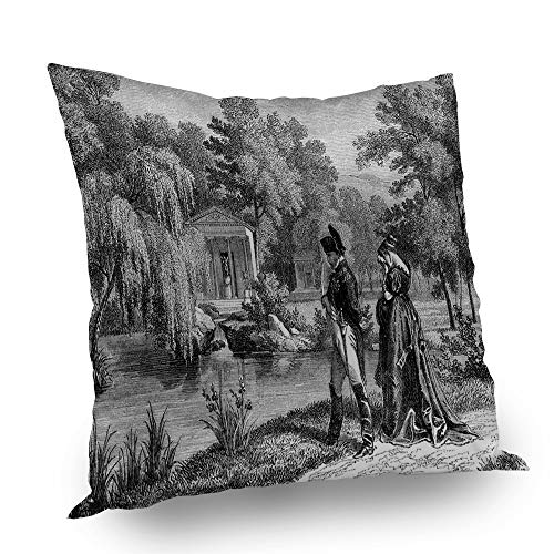 Wondertify Pillow Case Vintage Historical French Revolution Sketch Napoleon Woman in Garden Decorative Throw Pillow Cover Couch Bed Sofa Satin Cushion Cover 18x18 inch ()