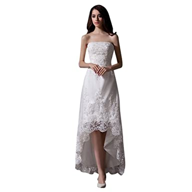 Mollybridal Womens High Low Lace Wedding Dresses Tulle Ivory US2