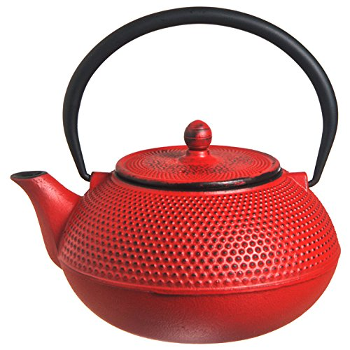 M.V. Trading T7005 Cast Iron Teapot, 27-Ounce, Red Hobnail
