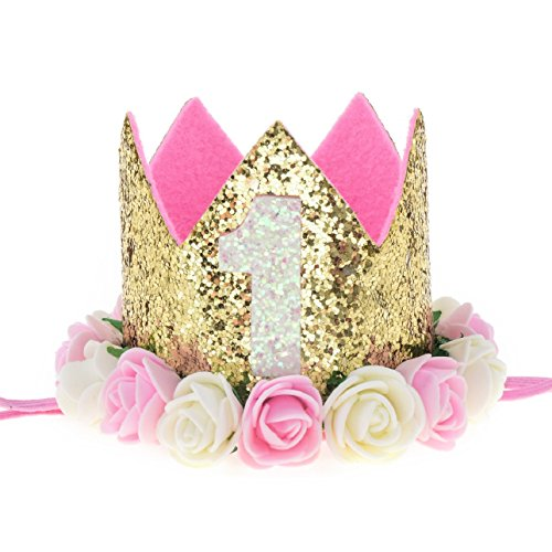 Love Sweety Baby Rose Flower Golden Crown Birthday Headband Hair Accessories (White Pink 1) (Love Baby Girl)