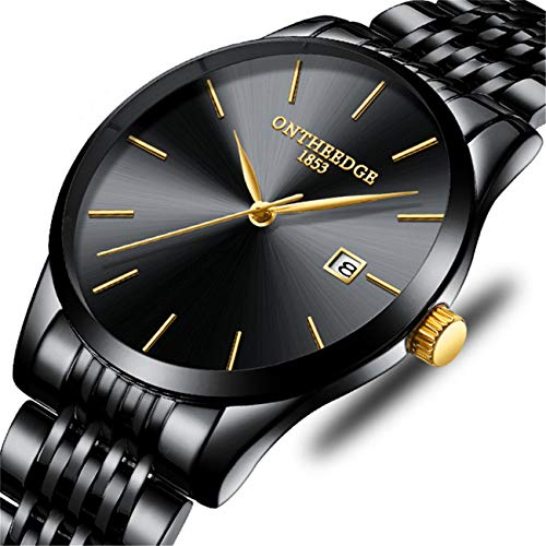 Watches Mens Simple Black Stainless Steel Waterproof Sports Analog Quartz Watch with Luxury Business Dress Date Wristwatch