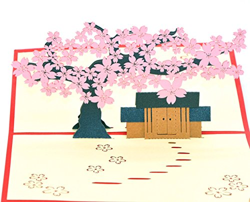Medigy 3D Pop Up Greeting Cards Blank Cards for Most Occastions Pink (The Hut Under a cherry tree - Cherry Hut