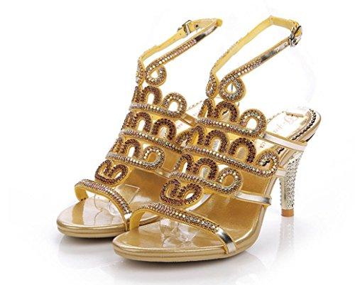 Del Goldfineheel Formal 36 Señoras Sandalias Las Rhinestones 35 Hueco De Oro Cinturón fine Hebilla Verano Talones Banquete Xie Heel Lujo Generoso Gold 8cm RnxX161