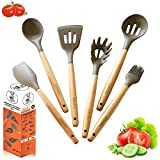 ZDodo Premium Kitchen Utensil Set - 6 Piece Grey Silicone Cooking Utensils Set with Beech Wood Handles for Nonstick Cookware