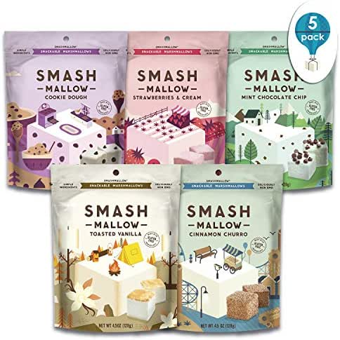 S'more Better Variety Pack by SMASHMALLOW | Snackable Marshmallows | Non-GMO | Organic Cane Sugar |4.5 Ounces, Pack of 5