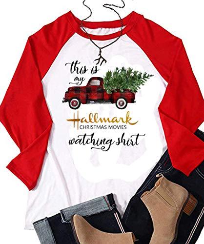 Skinny Jeans Fit Junkie (This is My Hallmark Christmas Movie Watching Shirt T-Shirt Women Red Truck Tree Graphic Tops Tee (Medium, White))