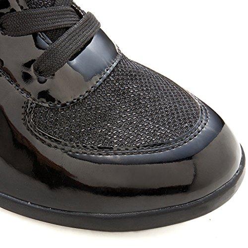 Nuova Moda Donna Allacciatura Velcro Alto Top Stivaletti Con Zeppa Scarpa Sneaker Scarpa Ghk89289 Nera