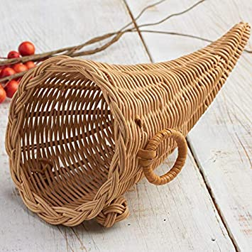 Factory Direct Craft Decorative Harvest Cornucopia Wicker Baskets for  Thanksgiving Decorations - Autumn - Fall Displays