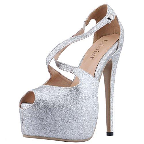 Zapatos plateado con elástico para mujer WQou1bKiX