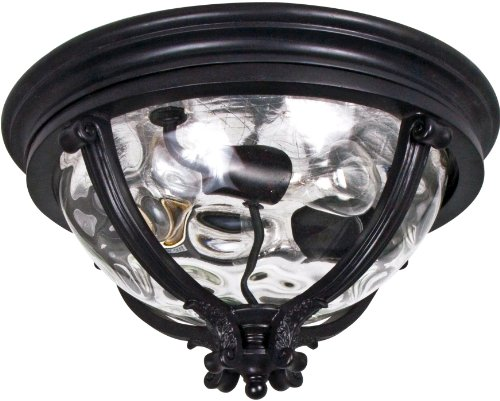 Maxim 41420WGBK Camden 3-Light Outdoor Ceiling Mount, Black Finish, Water Glass Glass, MB Incandescent Incandescent Bulb , 60W Max., Dry Safety Rating, Glass Shade Material, Rated (Camden Vx 3 Light)