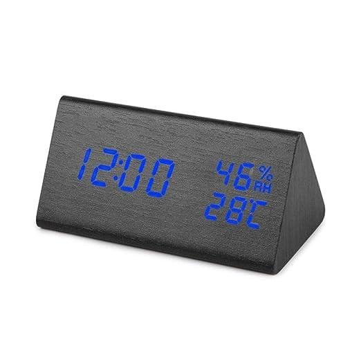 Rainandsnow Reloj Despertador de Madera LED, Mesa con Control de ...
