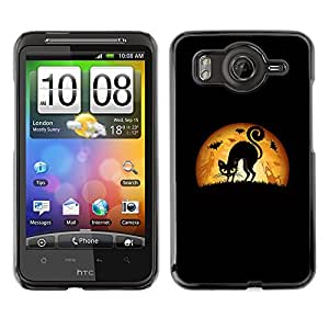 Vortex Accessory Carcasa Protectora Para HTC DESIRE HD - Black Cat Halloween Art Drawing -