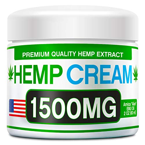 Hemp Pain Relief Cream - 1500 MG - Natural Hemp Extract Relieves Inflammation, Knee, Muscle, Joint & Back Pain - Contains Arnica, MSM & EMU Oil - Non-GMO - Made in USA