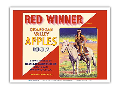 Pacifica Island Art - Okanogan Valley Washington Apples - Red Winner Brand - Vintage Fruit Crate Label c.1940s - Master Art Print - 9in x 12in