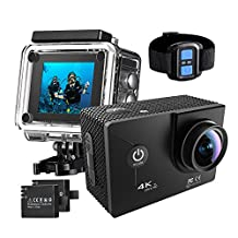Pictek 4K WIFI Action Camera, [Newest Version] Waterproof Camera with 30M Underwater, Wireless Remote Control Anti-shake Sport Camera Action Cam with 170°Ultra Wide-Angle Len/ 2-inch HD LCD Display/ 2Pcs Rechargeable Batteries/ Outdoor Accessories Kits