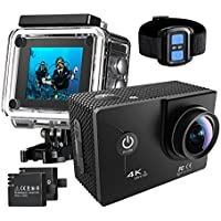 Pictek 4K HD Wifi Action Camera, 30m Waterproof Wireless Remote Control Sports Camera with 170° Ultra Wide-Angle Len and 2 Rechargeable Batteries, for Bicycle, Skiing, Diving and Swimming
