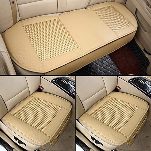 Nano Rattan Car Seat Cushion, Breathable Interior Protector, Summer Cool Pad Three-Piece Suit, Suitable for Most 5-Seat Cars