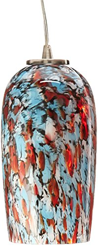 Elk 31147/1-LED Collage 1-LED Light Pendant with Hand Blown Glass Shade, 4 by 8-Inch, Satin Nickel Finish