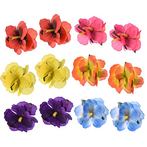 [Sumind Hair Flowers Hawaiian Hairclips Flower Hair Clips for Costume Party Decoration Supplies, 6 Colors, 12] (Hawiian Costumes)