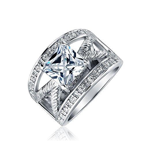 Bling Princess Cut CZ Cable Engagement Ring 2.25ct Rhodiu...