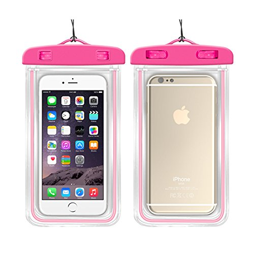 Universal Dry Bag Waterproof Phone Bag - 2 Pack Luminous Light Pouch Transparent Snowproof Dirtproof for iPhone 6/6s Plus/5s/se/Galaxy S5/S6/S7 Edge plus Note 4/5 and More (Pink)