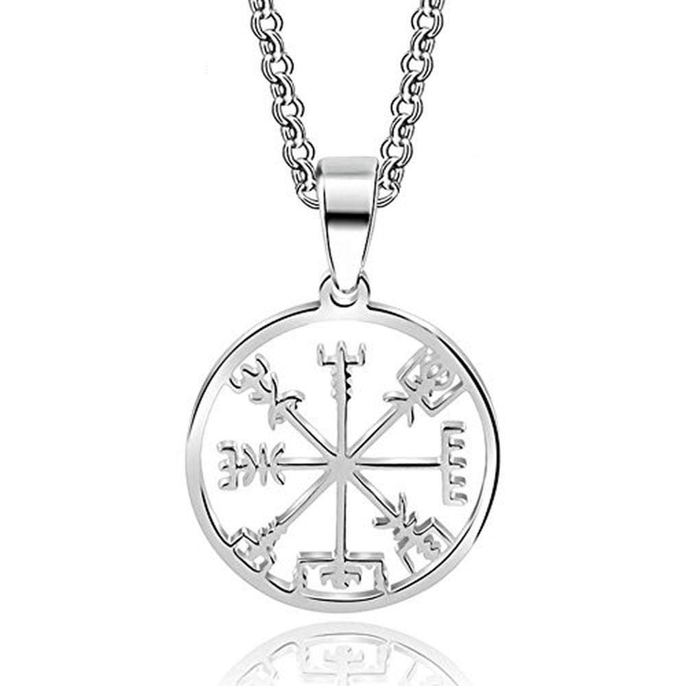 HANDMADE JEWELLERY Stainless Steel Viking Odin's Symbol of Norse Runic Pendant Necklace Viking Runes Vegvisir Compass Pendant (Odin)