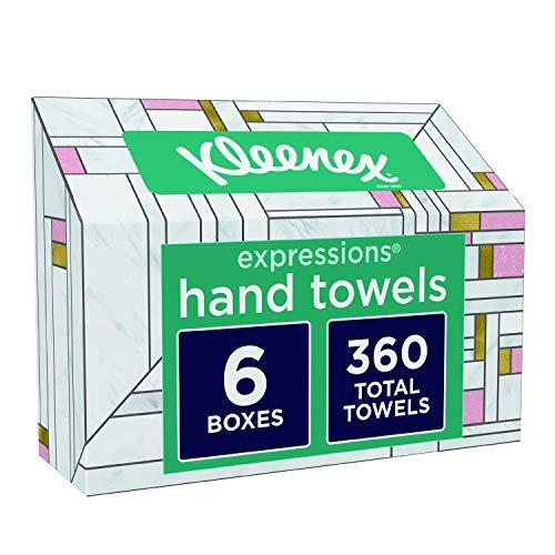 Kleenex Expressions Hand Towels, Single-Use Disposable Paper Towels, 6 Boxes, 60 Towels Per Box (360 Towels Total)