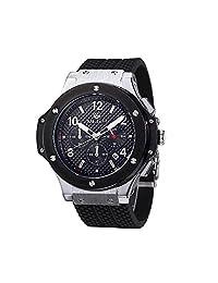 MEGIR 3002G (Silver All Black) Men's Chronograph 24 Hr Sports 3ATM Waterproof Quartz Silicone Watches