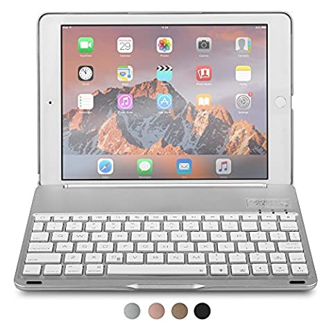 iPad Air 2 Keyboard case, COOPER NOTEKEE F8S Backlit LED Bluetooth Wireless Rechargeable Keyboard Portable Laptop Macbook Clamshell Clamcase Cover with 7 Backlight Colors for Apple iPad Air 2 (Silver) - Braccio Dell'asta Asta Del Microfono