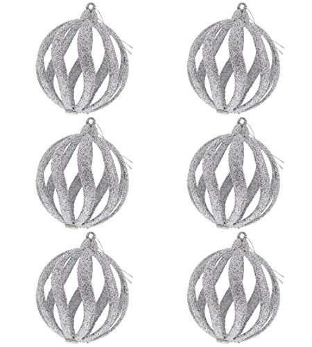 Fancy Elegant Christmas Holiday Spiral Shimmering Sparkling Round Glitter Ornaments, Silver, Medium, Pack of 6, 4