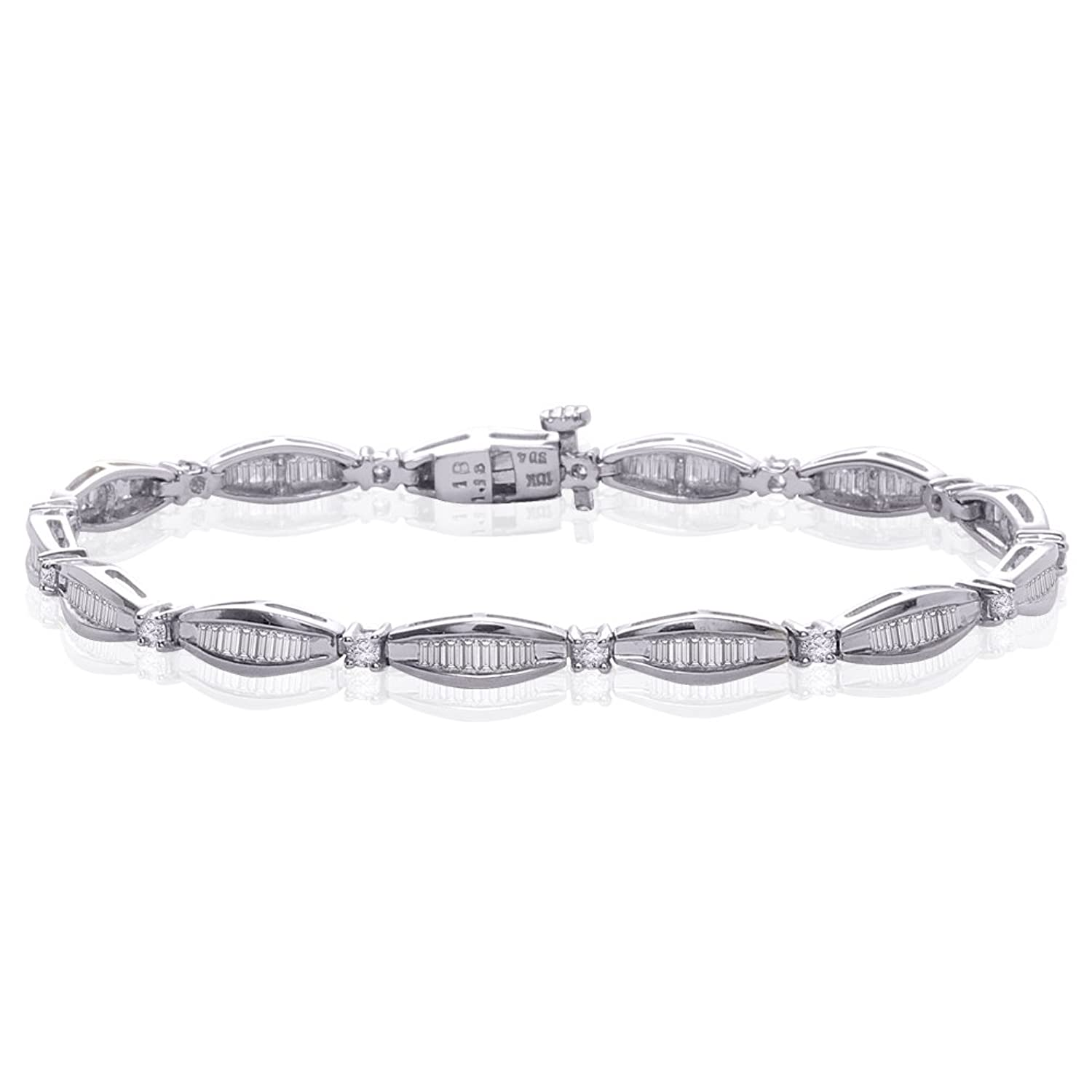 10K White Gold 2 ct. Round and Baguette Cut Diamond Bracelet