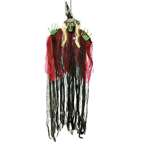 Halloween Haunters Hanging 9 Foot Scary Wicked Witch Green Face, Cackle Laughs, Red LED Eyes Prop Decoration - Spooky Cackling, Sound & Touch Activated - Huge Haunted House Graveyard Entryway Display]()